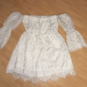 White Lace strapless long sleeve dress medium